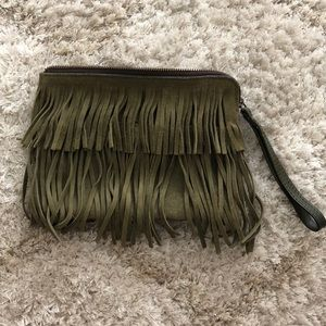 Patricia Nash Suede leather tassel clutch wristlet